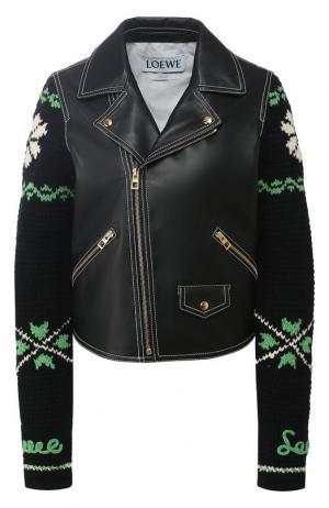 Кожаная куртка с вязаным рукавом Loewe. Цвет: черный
