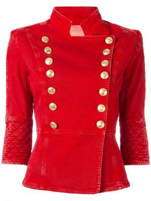 Джинсовая куртка на пуговицах Pierre Balmain. Цвет: красный