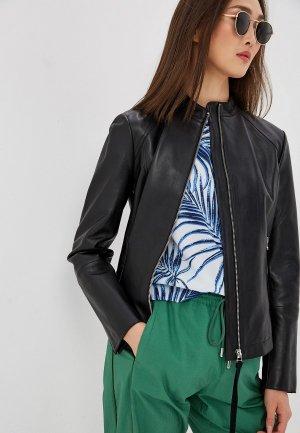 Куртка кожаная Sportmax Code. Цвет: черный