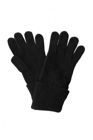 Вязаные перчатки черного цвета Tommy Hilfiger. Цвет: черный
