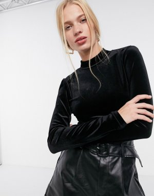 Бархатное боди с открытой спиной и высоким воротником -Черный Glamorous