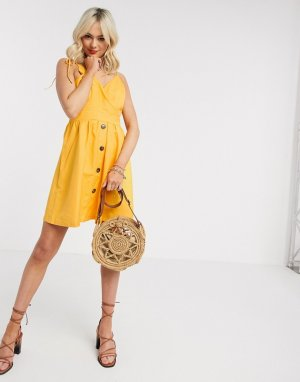 Желтый сарафан на пуговицах Gilli