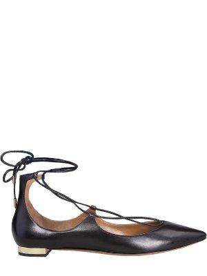 Балетки со шнуровкой Christy AQUAZZURA. Цвет: черный