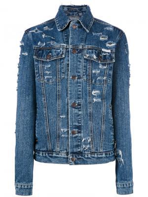 Джинсовая куртка с объемной нашивкой на спине Forte. Цвет: синий