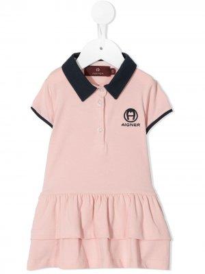 Платье-рубашка с воротником поло Aigner Kids. Цвет: розовый