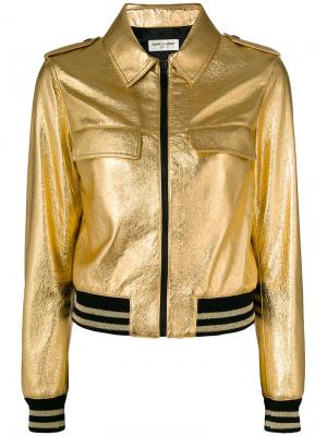 Металлизированная куртка с эластичными вставками Saint Laurent. Цвет: металлический