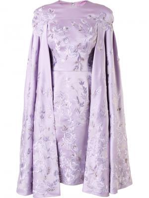 Платье-кейп с вышивкой Divina. Цвет: розовый и фиолетовый