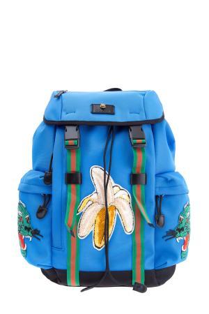 Рюкзак из нейлона с объемным декором и аппликациями GUCCI. Цвет: голубой