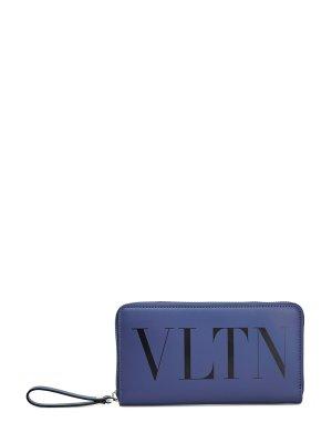 Портмоне из матовой кожи с принтом VLTN VALENTINO GARAVANI. Цвет: синий