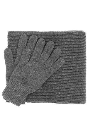 Комплект перчатки и шарф Johnstons. Цвет: серый