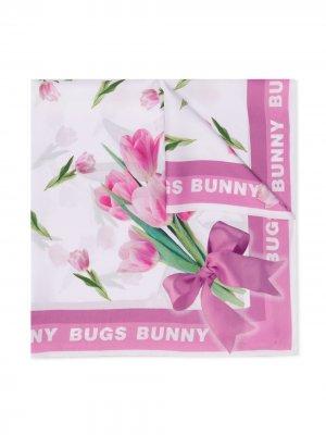 Платок с принтом Bugs Bunny Monnalisa. Цвет: белый