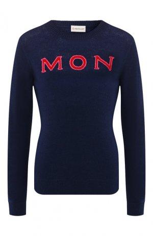 Кашемировый пуловер Moncler. Цвет: темно-синий