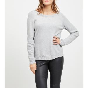 Пуловер с V-образным вырезом кружевной вставкой из трикотажа VILA. Цвет: светло-серый