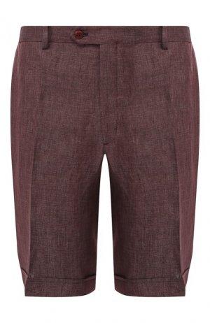 Льняные шорты Brioni. Цвет: коричневый