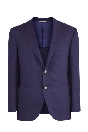 Шерстяной блейзер из саржи с накладными карманами CANALI. Цвет: синий