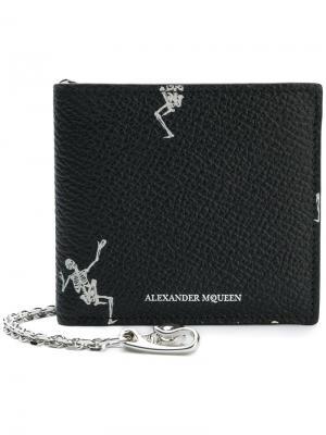 Кошелек с изображением танцующих скелетов Alexander McQueen. Цвет: черный