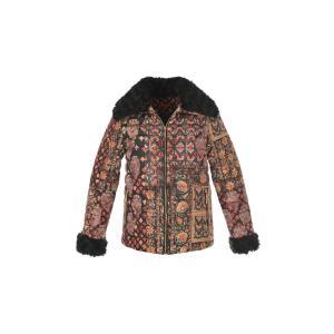 Куртка стеганая короткая с рисунком DERHY. Цвет: рисунок/фон черный