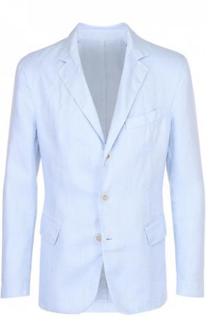 Льняной приталенный пиджак 120% Lino. Цвет: голубой