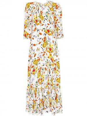 Расклешенное платье с цветочным принтом byTiMo. Цвет: белый