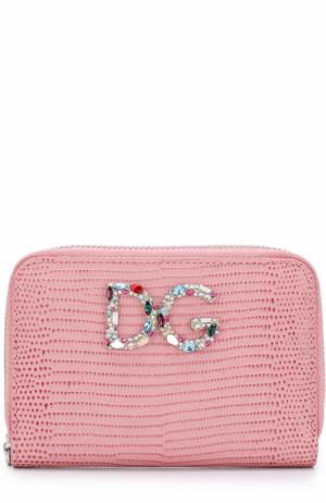 Кожаный кошелек на молнии с логотипом бренда Dolce & Gabbana. Цвет: розовый