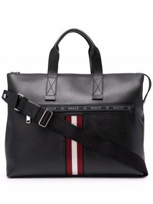 Logo-print leather laptop bag Bally. Цвет: черный