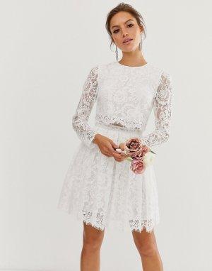 Кружевное свадебное платье мини -Белый ASOS EDITION