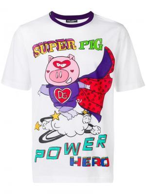 Футболка с принтом Super Pig Dolce & Gabbana. Цвет: белый
