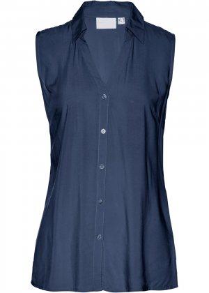 Блузка без рукавов bonprix. Цвет: синий