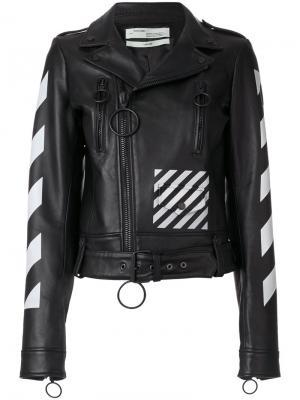 Байкерская куртка с полосками Off-White. Цвет: чёрный
