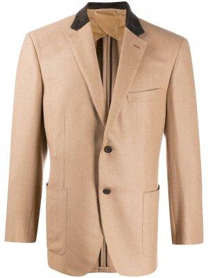 Однобортный пиджак Brioni. Цвет: коричневый