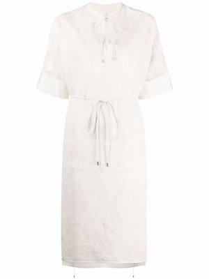 Кружевное платье Salvatore Ferragamo. Цвет: нейтральные цвета