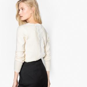 Пуловер с круглым вырезом, вставкой из кружева сзади и длинными рукавами SEE U SOON. Цвет: экрю