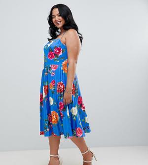 Платье миди для выпускного на бретельках с плиссировкой и цветочным принтом ASOS DESIGN Curve. Цвет: мульти
