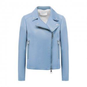 Кожаная куртка BOSS. Цвет: синий