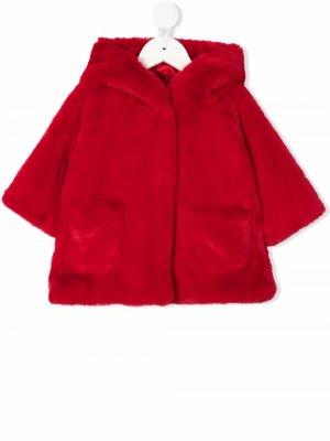 Hooded faux-fur jacket Monnalisa. Цвет: красный