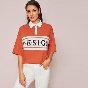 Рубашка-поло с текстовым принтом и контрастным вырезом SHEIN. Цвет: оранжевый