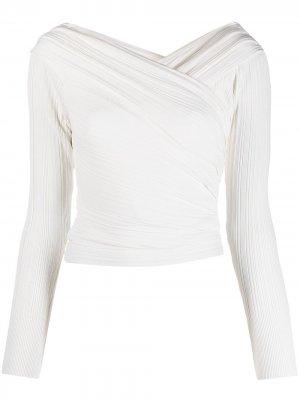 Драпированная блузка с открытыми плечами Hervé Léger. Цвет: белый