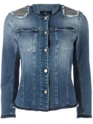 Джинсовая куртка с декорированными плечами 7 For All Mankind. Цвет: синий