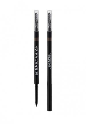 Карандаш для бровей Bespecial Ультратонкий Slimliner (grey brown), 2 г. Цвет: коричневый