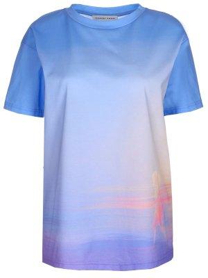 Хлопковая футболка TEREKHOV. Цвет: разноцветный