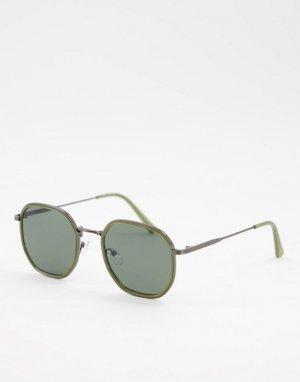 Круглые солнцезащитные очки в оливково-зеленой оправе стиле унисекс -Зеленый цвет AJ Morgan