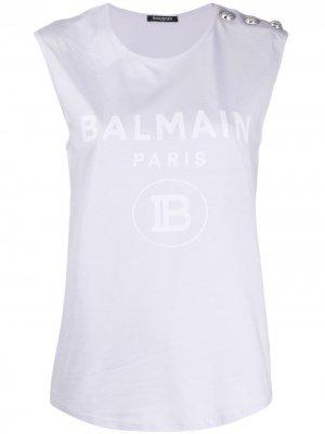 Logo print top Balmain. Цвет: фиолетовый