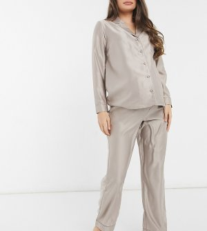 Серо-бежевая пижама на пуговицах -Коричневый цвет New Look Maternity