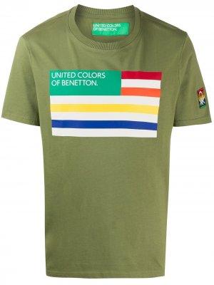 Футболка с круглым вырезом и принтом Benetton. Цвет: зеленый
