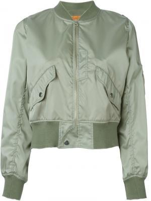 Укороченная куртка-бомбер Mm6 Maison Margiela. Цвет: зелёный