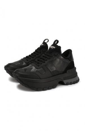 Кожаные кроссовки Garavani Rockrunner.Up Valentino. Цвет: черный
