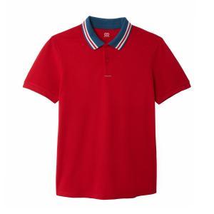 Футболка-поло с контрастным воротником из хлопкового трикотажа пике LA REDOUTE COLLECTIONS. Цвет: красный,темно-синий