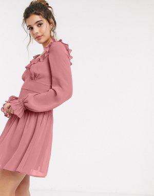 Scoop neck mini skater dress with frill in tea rose-Розовый ASOS DESIGN