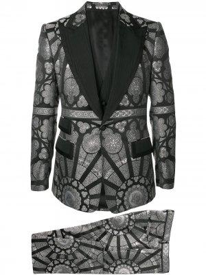Жаккардовый костюм-тройка Dolce & Gabbana. Цвет: серый