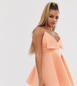 Короткое приталенное платье мини с отворотами спереди ASOS DESIGN Petite-Розовый Petite